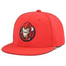 цена на Baseball Cap Ironman Boy Snapback Kid Hip Hop Hat Flat Bill Superhero Embroidered Adjustable comic Breathable Outdoor Accessory