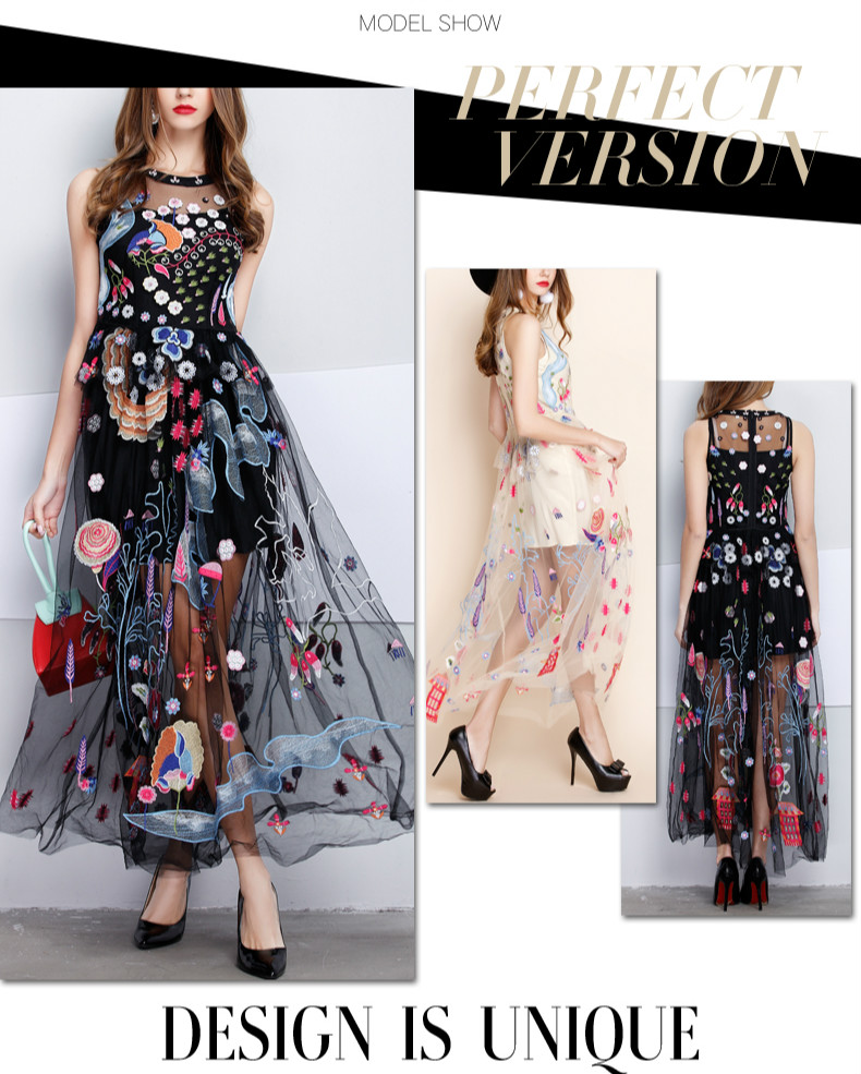 18 Summer Women Sleeveless Dress Vest Long Dress Party Dress Sexy Perspective Embroidered Dresses 6