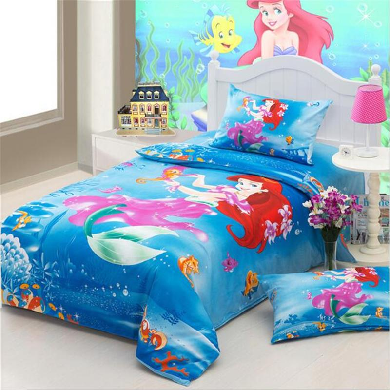 Pink Princess the Little Mermaid Bedding Sets Twin Size Cotton Bed Sheets Pillowcase Duvet Cover Children Girls Bedroom Set