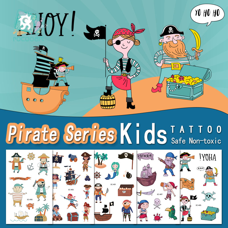 Rocooart Cartoon Pirate Tattoo For Kids Cute Fake Taty Children Tatouage Temporaire Body Art Waterproof Temporary Tattoo Sticker