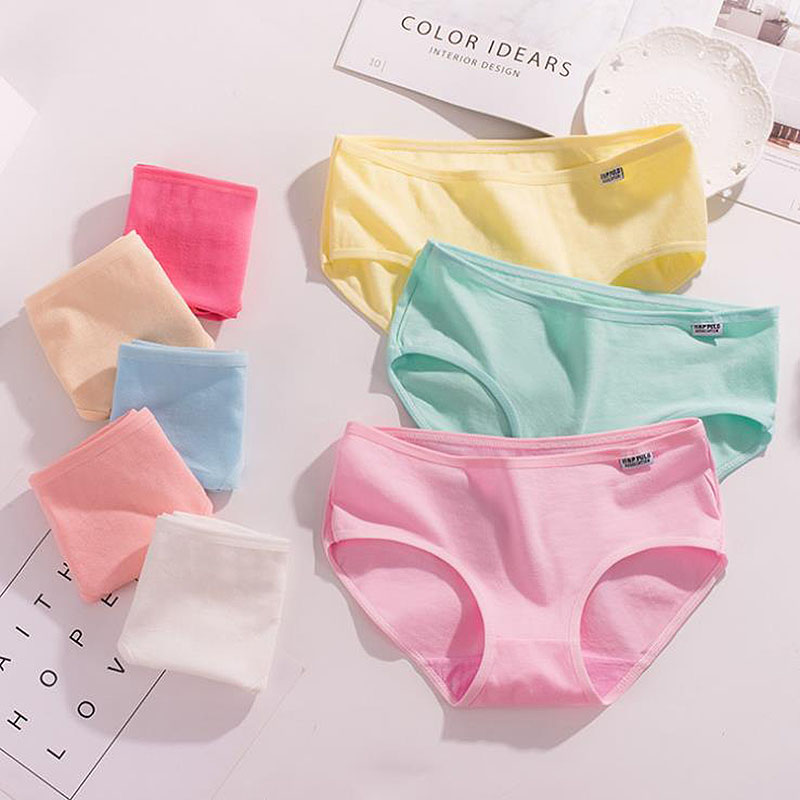 QUECOO Classic style candy color cute sexy briefs cotton comfortable women's underwear   panties