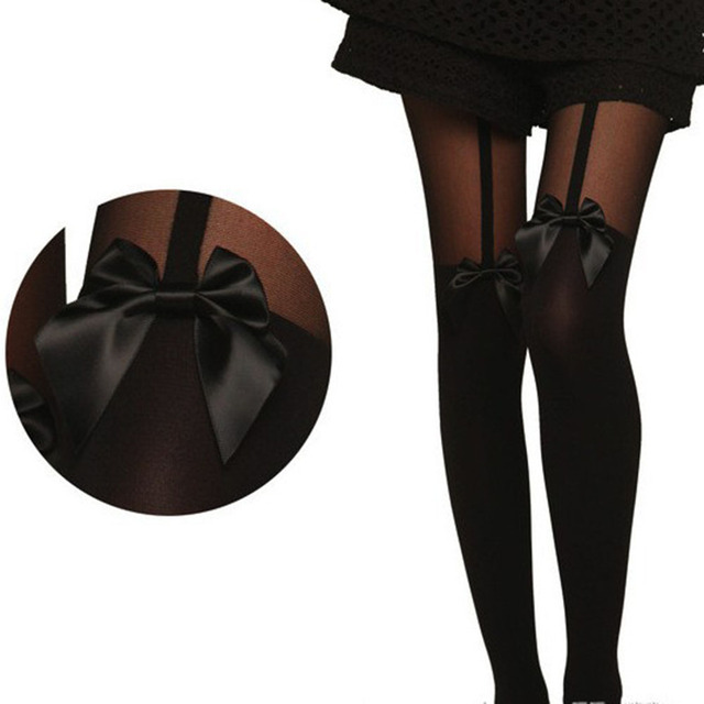 09225f464 1Pair Sexy Women Bow Suspenders Pantyhose Thigh High Stockings Black Boot  Velvet Elastic Soft Cotton Over