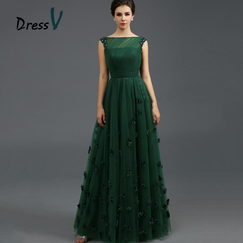 Vintage Dark Green Tulle Evening Dresses 2017 Sexy A Line Beads ...