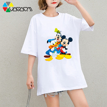 Plus Size Women Summer Mickey Mouse Minnie T-shirts Harajuku Loose Short Sleeve T Shirt Female Cute Party Club Tee