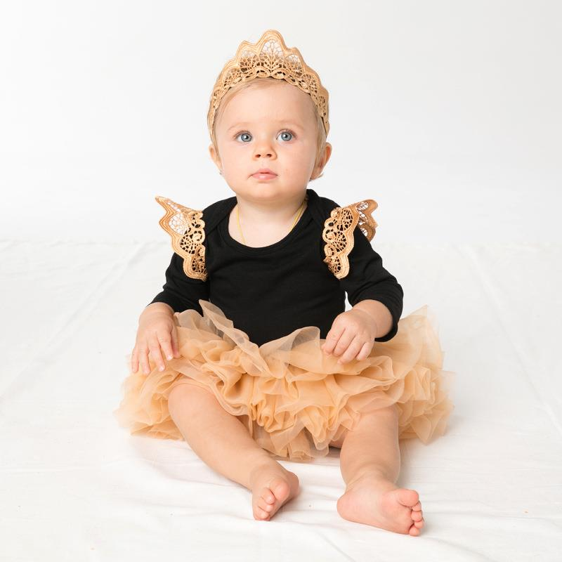 Babykleren Baby Girls Clothing 2pcs Halloween Outfits with Little Wings Decor Beautiful Romper & Bubble Skirts Cute Newborn Set