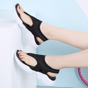 Image 3 - Женские сандалии на плоской подошве STQ, 2020 черный цвет, шлепанцы, танкетка, удобные, домашние, тапочки, на лето, 7753