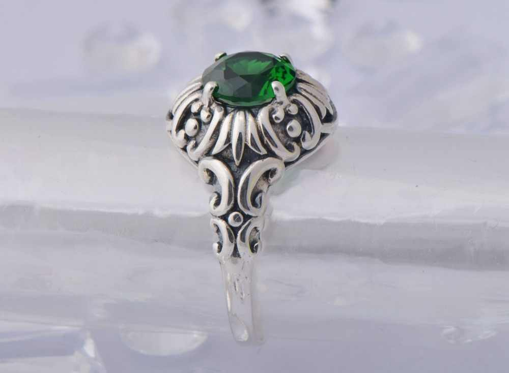Szjinao แฟชั่นสไตล์โรมัน vintage solid 925 sterling silver palace luxury emerald แหวนสำหรับงานแต่งงาน