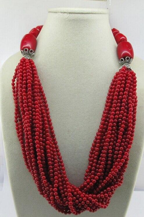 Shitou 001418 Уникальный Стиль 25 inch Драгоценного Камня Красного Коралла и Тибетские Серебряные Шарики Ожерелье