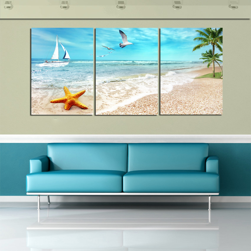 3 Panel Large Beach Canvas Seascapes Palm Tree Paintings Piece Wall Art Coconut Home Decor