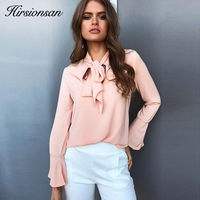 Hirsionsan 2017 New Autumn Long Flare Sleeve Blouse Shirt Elegant Lace Up Bow Pink Women Blouses