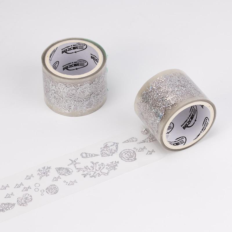 32/34/40mm*5m Transparent Gold Star Masking Tape Lipstick Sticker PET Paper Washi Tape