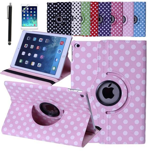 Горошек Чехол Для iPad Воздуха 2/iPad 6 PU Смарт стенд 360 Поворот с Экран Защитную Пленку Стилус Бесплатная Доставка