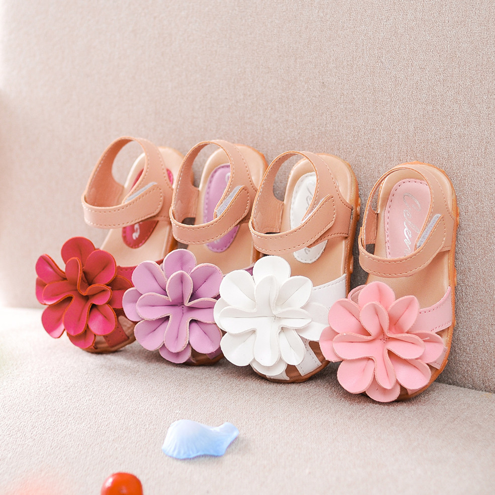 2017 Summer Cool Baby Girls Sandals Shoes Skidproof Toddlers Infant Children Kids Flower Shoes PU Leather Size 21-30