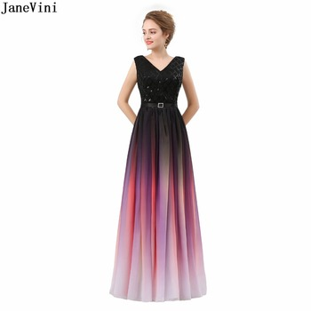 JaneVini 2019 Simple Cheap Chiffon Long Bridesmaid Dresses Gradient Purple Sleeveless V Neck Sequined A Line Formal Prom Gowns