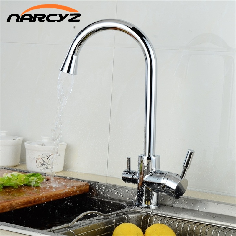 Hot Sale 3 Way Tap Kitchen Water Drinking Water Faucet Chrome Kitchen Taps Mixer Water Filter Rotatable Purify Mixer XT-35 kitchen water filter faucet chrome