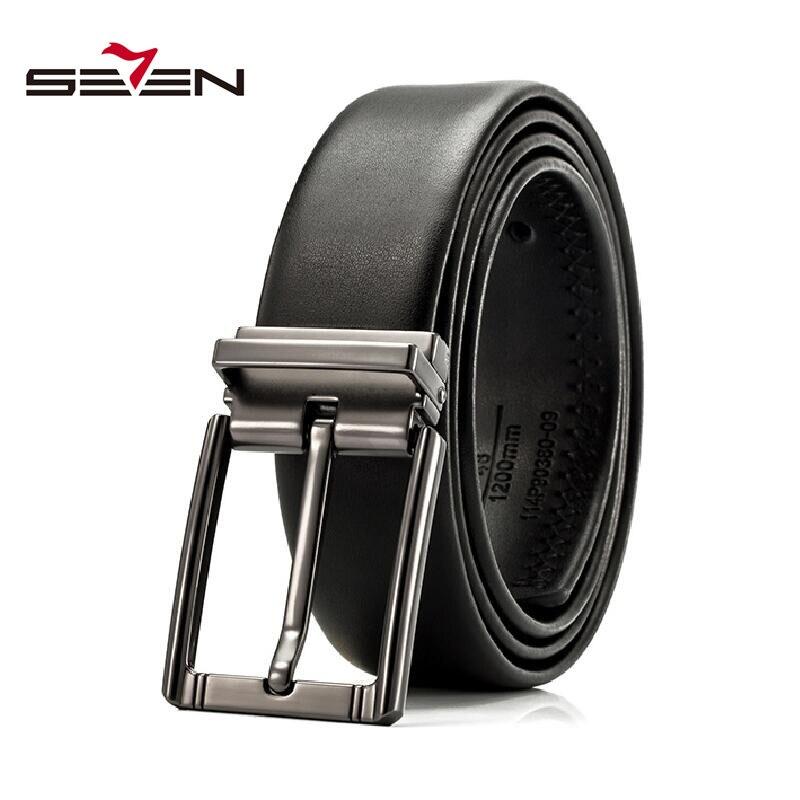 Seven7 Vintage Designer Belts For Men Genuine Leather Reversible Belt Mens Jeans Dress Belts Black Male Accessories 114P90380