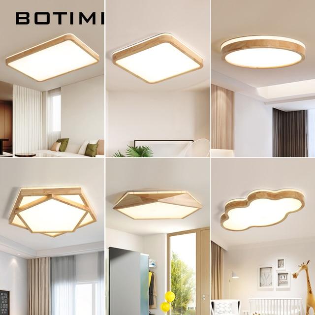 BOTIMI 220V LED Ceiling Lights Wooden Rectangle Ceiling Mounted Lamp For Living Room Round Ceiling Lamps Modern Wood Lightings