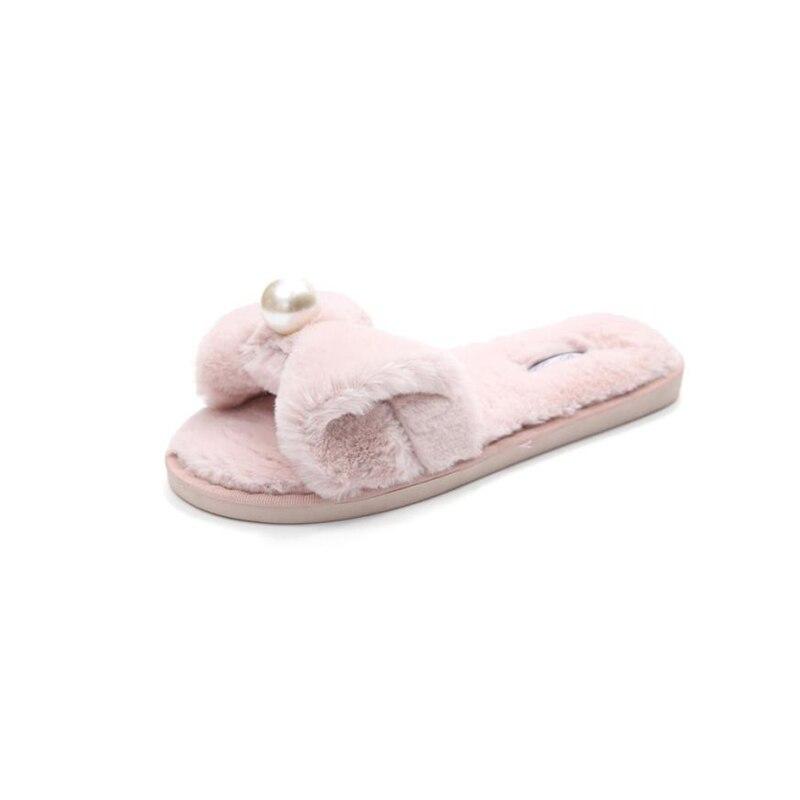 все цены на sandals girls Home slippers Comfortable Womens Ladies Slip On Sliders Fluffy Faux Fur Flat Slipper Flip Flop Sandal O0511#30