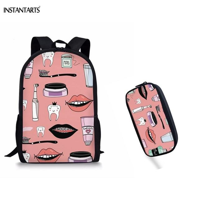 INSTANTARTS Cute Cartoon Dentist Teeth Printed Girls Backpacks Casual 2PCS  Children School Bags Middle School Students Satchels 5c0a869b5cdb0