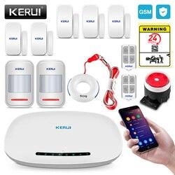 Kerui gsm sistema de alarme segurança discagem automática app sem fio em casa alarme do assaltante proteção contra incêndio sensor movimento alarme segurança kit diy