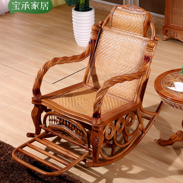 Natural Really Old Wicker Chairs Rocking Chair Recliner Siesta Balcony  Leisure Rattan Happy