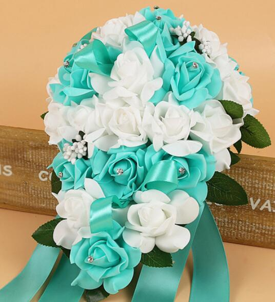 PE Foam Flower Artificial Bridal Bouquets Crystal Bridesmaid Bridal Wedding Bouquets Water Drop Shaped Turquoise Royal Blue 131