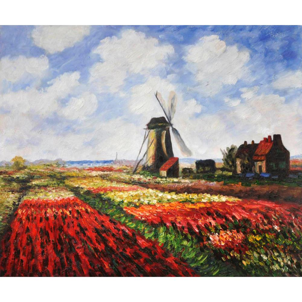 High quality handmade landscape oil painting on canvas Tulip Field with the Windmill Monet home picture decor modern art