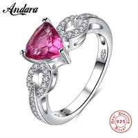 Pure 100 925 Sterling Silver Poetic Droplet Engagement Ring With Purple CZ For Women Luxury Original