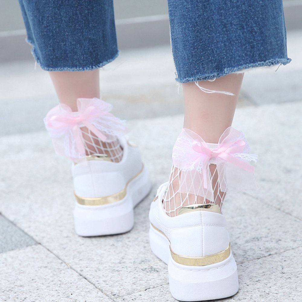 Fashion Women Lace Bowknot White Fishnet Ankle   Socks   ladies   socks   Summer Hollow Mesh Short Hosiery   Sock   Pink Color