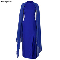In Stock Royal Blue Evening Dresses Long Unique Open Sleeve Dress Elegant Cheap Simple Formal Dress Chic Women Evening Gown
