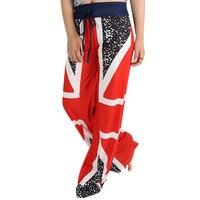 Hot ! 1PCS Women Pants 2017 New Fashion Summer Women British Flag Drawstring Casual Wide Leg Pants Leggings Plus Size Red May 25