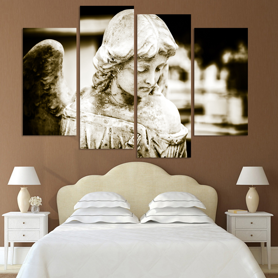 4 Panels Ancient angel girl Canvas Print For Living Room Painting ...