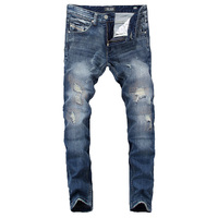 Summer DSEL Brand Mens Jeans Blue Color Elastic Stretch Denim Ripped Jeans For Men Casual Pencil