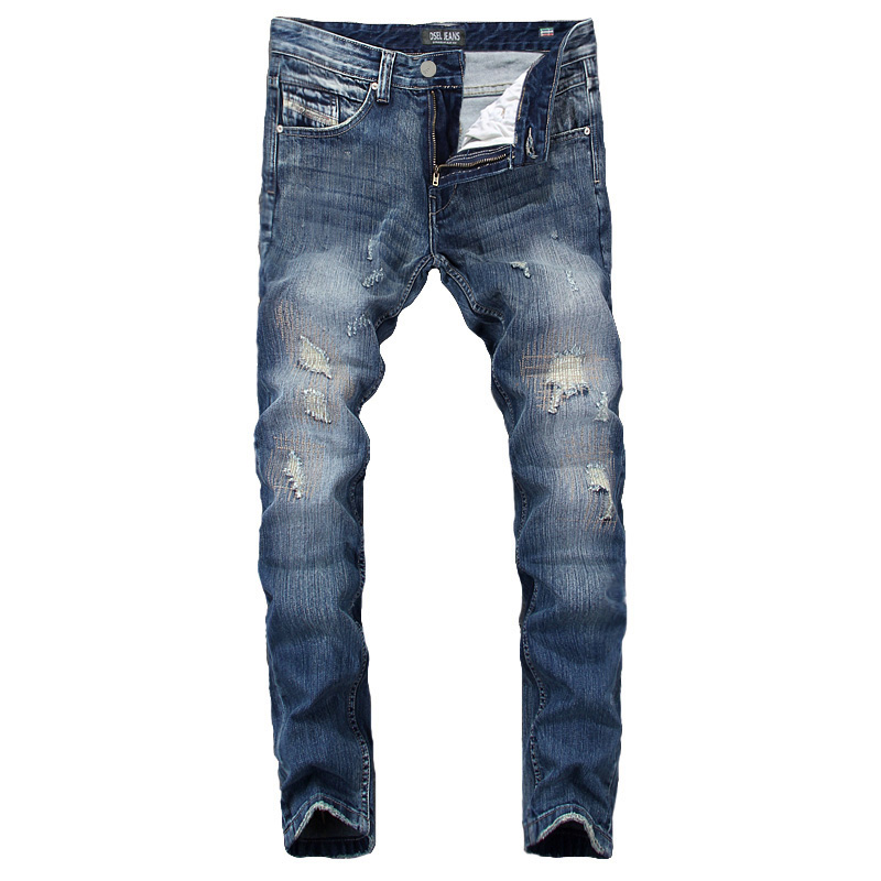 Summer DSEL Brand Mens Jeans Blue Color Elastic Stretch Denim Ripped Jeans For Men Casual Pencil Pants Patchwork Skinny Jeans patch jeans men slim skinny denim blue jeans ripped trousers famous brand dsel jeans elastic pants star mens stretch jeans w701