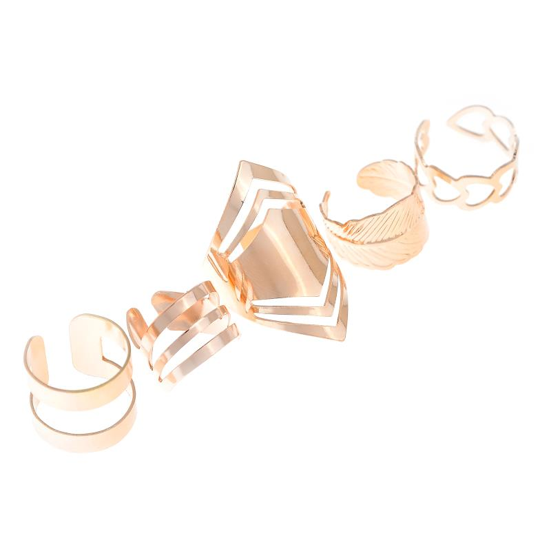 Zinc Alloy Gold Color Ring Set for 5pcs Fashion Girls Gift Jewelry Popular Style Rings for Women Finger Knuckle Accessories Pakistan