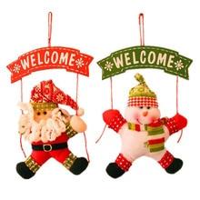 Санта Клаус снеговик дерево двери Новогодние товары украшение для дома орнамент декора висит кулон Рождественский подарок Navidad украшения