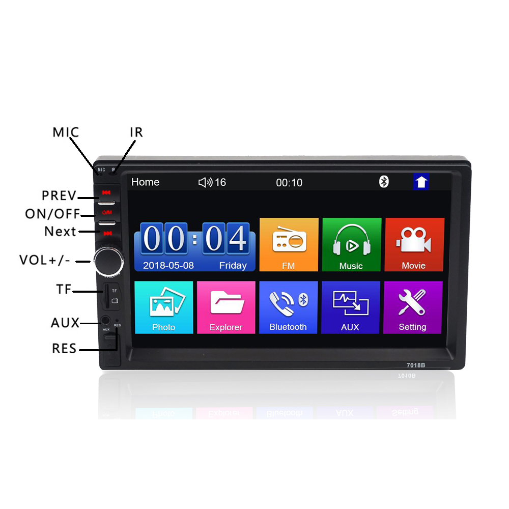 2 Din 7 Inch Car Radio Stereo Mirror Link Steering Wheel Control Mp4 Mp5 Player Bluetooth Touch Screen Rear Camera Optional