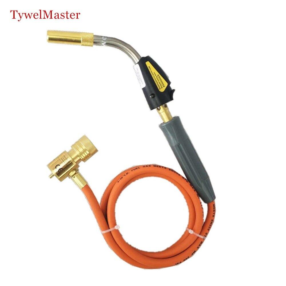 Schweißlöten Taschenlampe Selbst Zündung 1,5 mt schlauch CGA600 verbindung Gas Taschenlampe Hand Propan MAPP Fackel