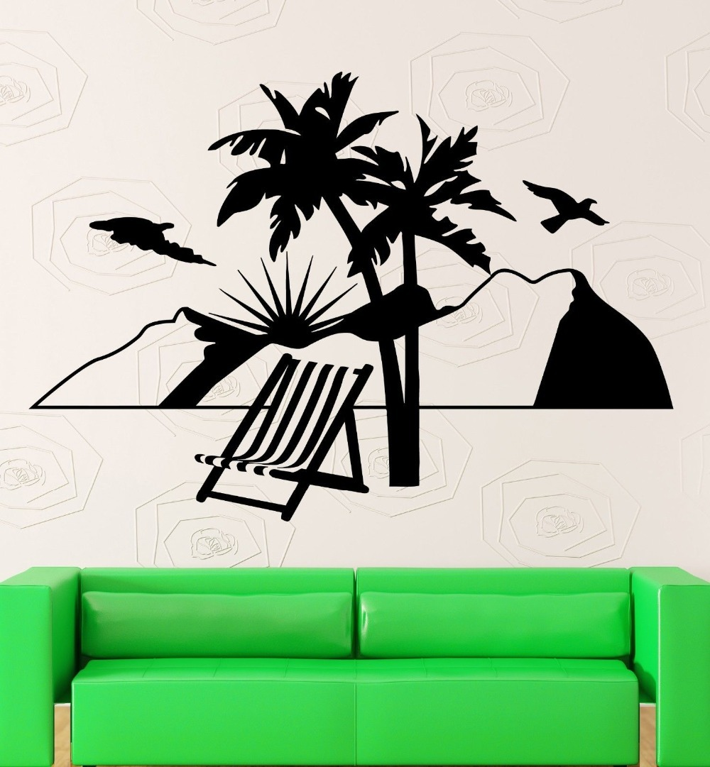 Vacations Wall Stickers Relax Beach Travel Agency Mountains Vinyl - Beach vinyl decals