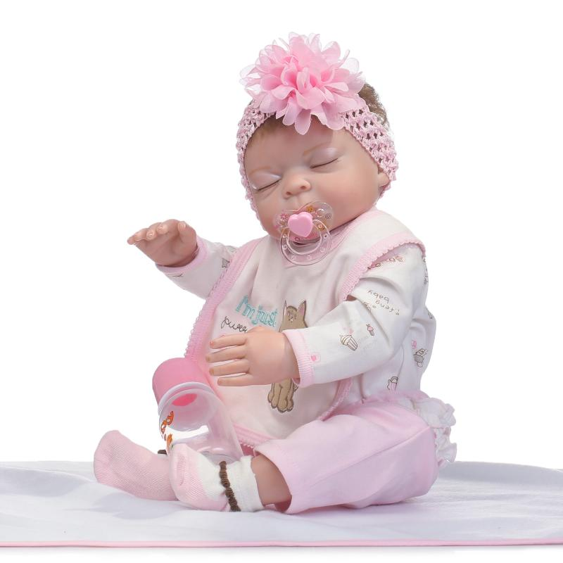 50cm Full Silicone Reborn Sleeping Baby Doll Toy Like Real Newborn Princess Girls Babies Doll Kid Gift Brinquedos Bathe Toy realistic cake cell phone strap with bread fragrance assorted smiling face