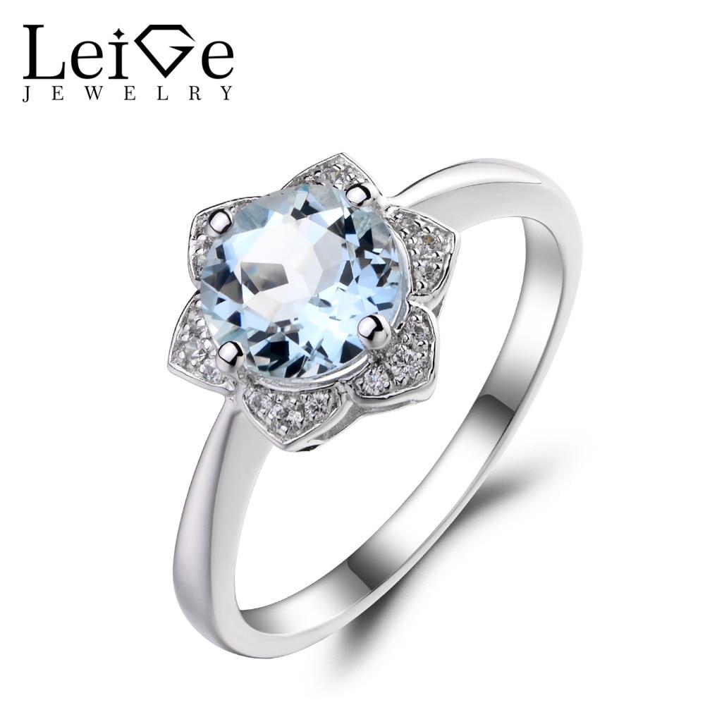 Leige Jewelry Natural Aquamarine Wedding Anniversary Rings 925 Sterling Silver Ring Blue Gemstone March Birthstone Round Cut