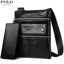 (Ship from US) VICUNA POLO Leather Messenger Bag With Front Pocket Famous  Brand Business Man Bag Men Handbag Vintage High Quality Shoulder Bags f4e15edf13ca7