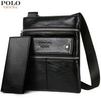 3663d5e6043 ... Casual crossbody Tas. VICUNA POLO Leather Messenger Bag With Front  Pocket Famous Brand Business Man Bag Men Handbag Vintage