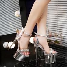 New Arrival Summer Fashion Shoes Woman Nightclub Sexy Women Pumps 14 CM 18 CM High Heels Bling Crystal Rhinestone Women Sandals