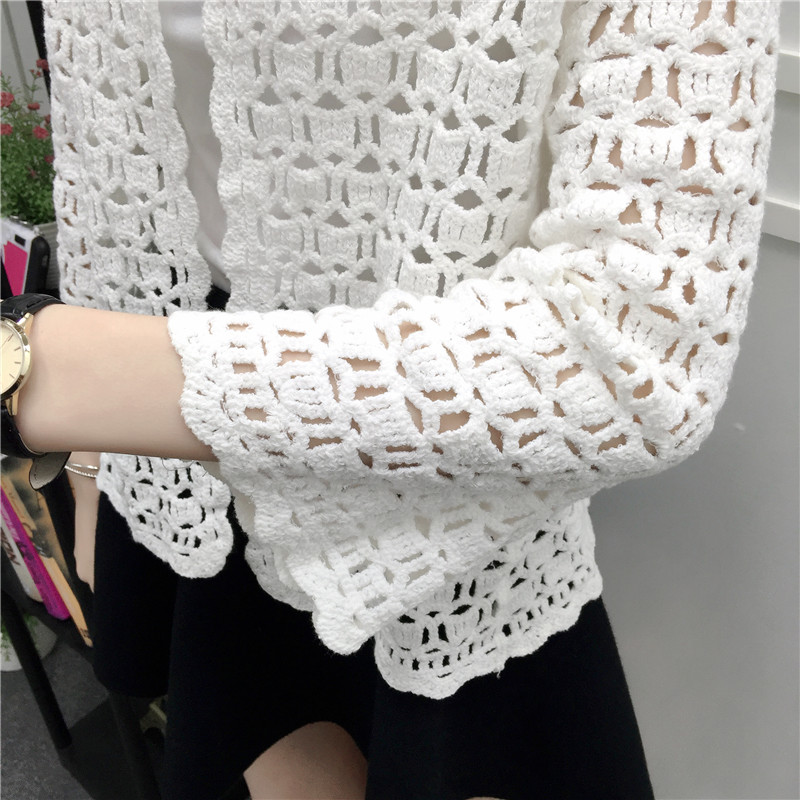 Camisas Mujer 2017 Spring Summer Crochet White Lace Blouse Women Fashion Tops Sexy Hollow Out Knitted Cardigan Chemise Femme 7