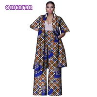 Casual African Print Long Top and Wide Pants for Women Bazin Riche 2 Pieces Pants Sets Plus Size African Style Clothing WY3143