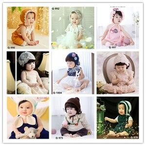 Dvotinst noworodek dziewczynki Fotografia rekwizyty stroje Flora sukienki + zestaw kapeluszy dla 6-12M Fotografia Bonnet Studio strzela zdjęcie Prop