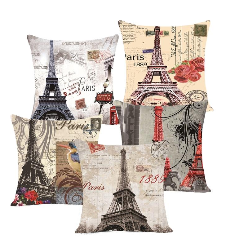 45 *45cm Vintage Eiffel Tower in Paris Arc de Triomphe orative Throw Pillow Covers Sofa Seat Cheap Cushion Covers fashion MYJG5