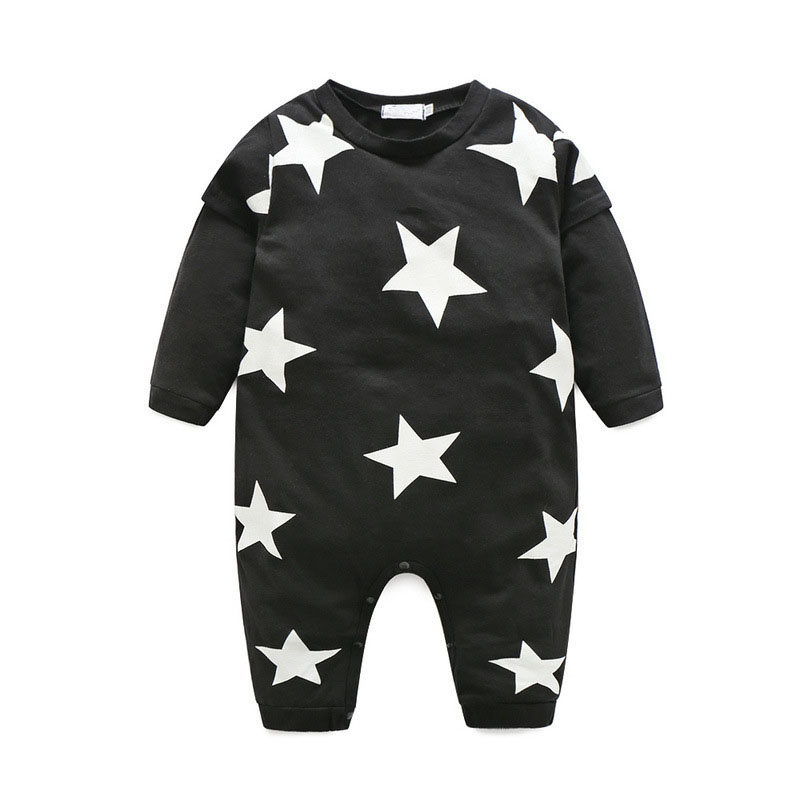 Kids Clothes Brand 2017 Spring And Fall Baby Girls Boys Clothes Cotton Long-sleeved Star Pattern Jumpsuit Tricolor Babys Clothes baby s cute floral pattern two way pur cotton spring fall cloak w hood deep blue