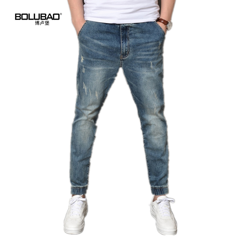 Bolubao New Men Skinny Jeans Brand Clothing Classic Washed Stretch Denim Ripped Biker Trousers Slim Male Blue Casual Pants thin stretch jeans ripped denim trousers slim skinny black jeans men new famous brand biker jeans elastic mens jeans l702